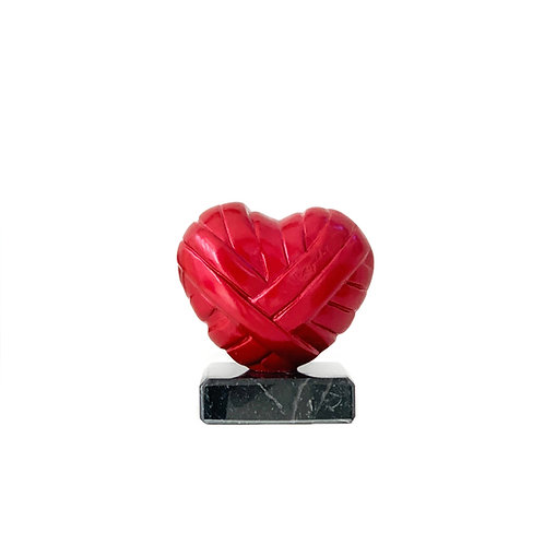 Metallic Red Heart Sculpture in Mini Size titled Love Me by sculptor Stathis Alexopoulos