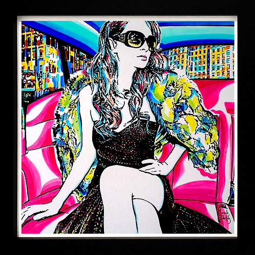 Acrylics on paper by visual artist Marcelo Zeballos titled Promenade shows a diva seating in a luxury car