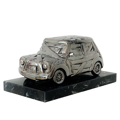 Silver Resin Sculpture Car Front View