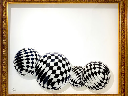 Black and White spheres Printed on Plexiglass in Gold Wooden Frame by artist Vassiliki