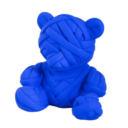 Blue Teddy resin sculpture by artist Stathis Alexopoulos