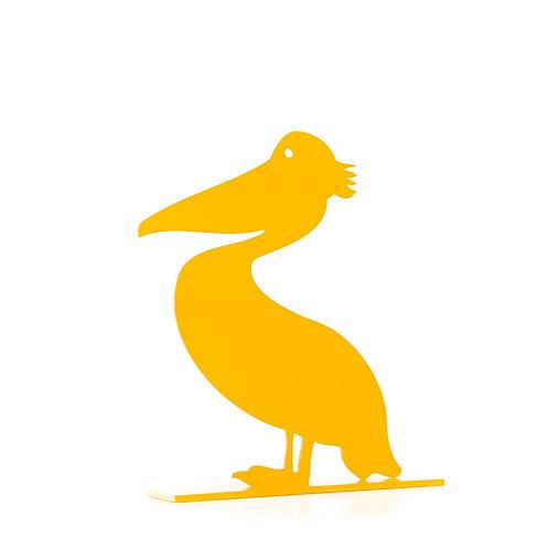 Yellow Metallic Pelican sculpture by artist Antonis Kastrinakis