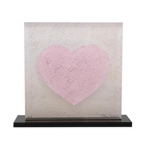 Pink Printed Heart On Plexiglass by artist Eleni Sameli