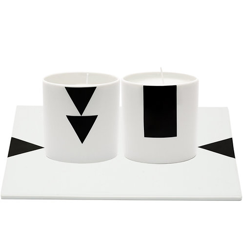 Black and White Candles on Limoges Porcelain Tray by Rotate Designs