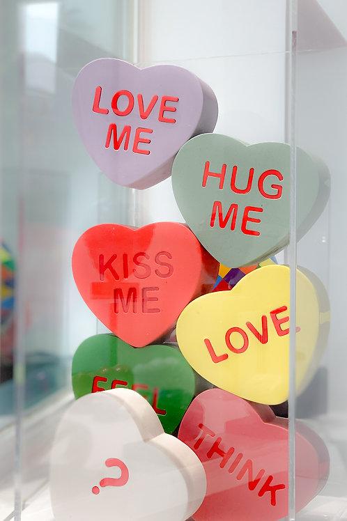 Hearts Sculptures in Acrylic Box by visual artist Brigitte Polemis
