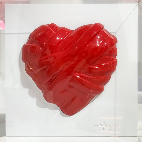 Shiny Red Heart Sculpture in Acrylic Box Front View