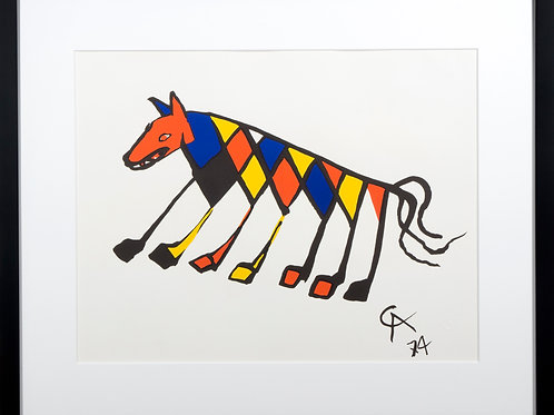 Offset Lithograph in black frame titled Beastie by artist Alexander Calder