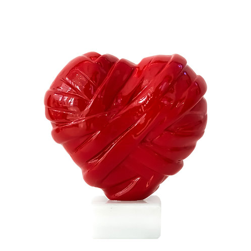 Shiny Red Heart Sculpture Front View