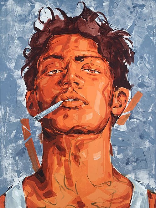John Valyrakis' painting titled Angel and shows the portrait of a man who is smoking