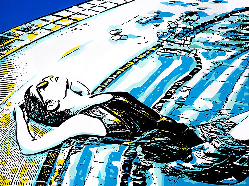 Acrylics on canvas titled The Shelter by pop artist Marcelo Zeballos shows a Woman Lying in the Pool
