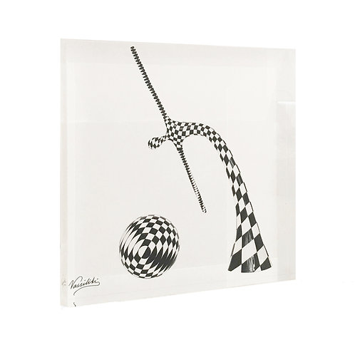 Art Print on plexiglass with black And White rhombus by artist Vassiliki