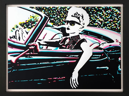 Acrylics on canvas titled My trips by pop artist Marcelo Zeballos shows a woman is driving a cabriolet car