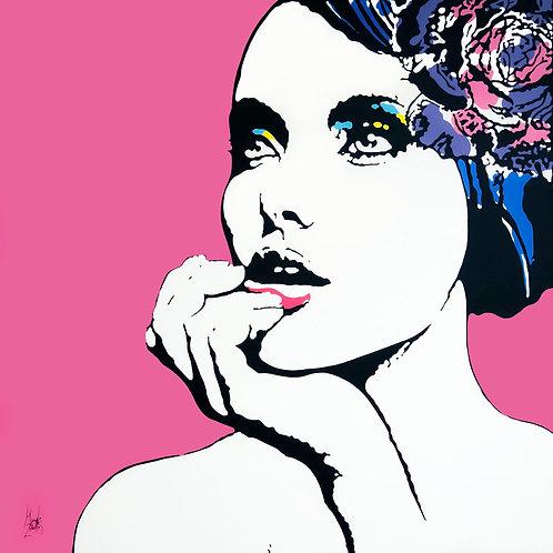 Acrylics on canvas titled Sophia's Colors by visual artist Marcelo Zeballos
