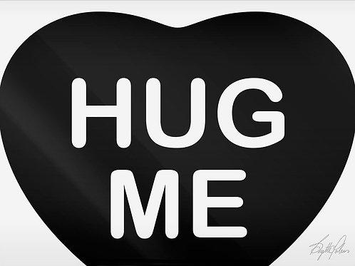 Black and White Ink Heart Shape Print On Plexiglass titled Hug Me by artist Brigitte Polemis