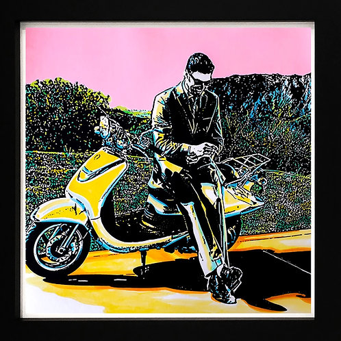Acrylics on paper by visual artist Marcelo Zeballos titled Time Lapse shows a Man with yellow Vespa