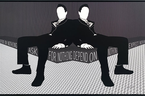 Brigitte's Polemis art print titled Depend on Nothing, shows two men are sitting