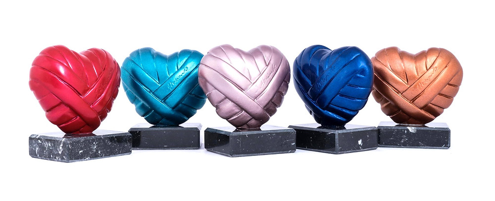 "The resin sculpture titled ""Love me"" by sculptor Stathis Alexopoulos from Heart Series"