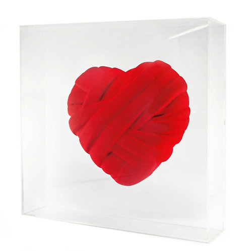Red Heart Sculpture in Acrylic Box by sculptor Stathis Alexopoulos