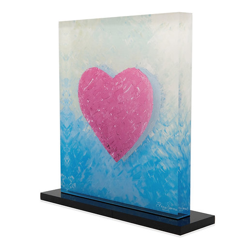 Pink Printed Heart On Plexiglass Side View