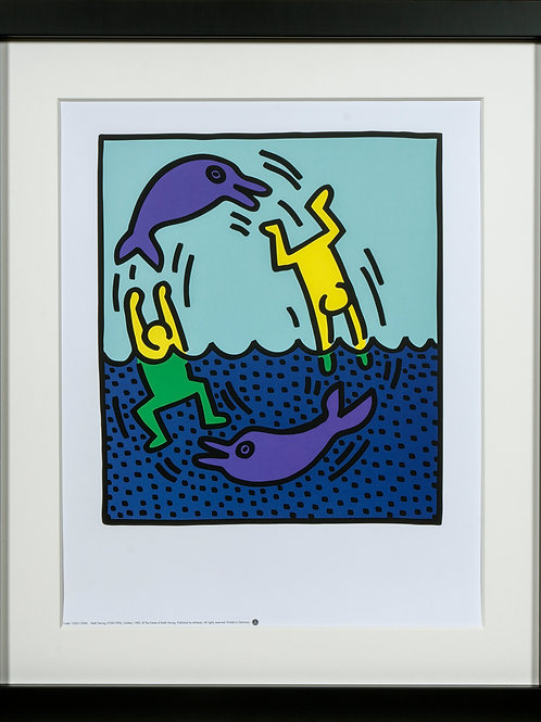Offset Lithograph by Keith Haring shows  two man playing with dolphins