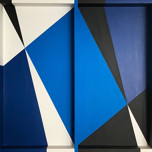 Blue White Geometric Art Painting Wooden Construction by artist Opy Zouni