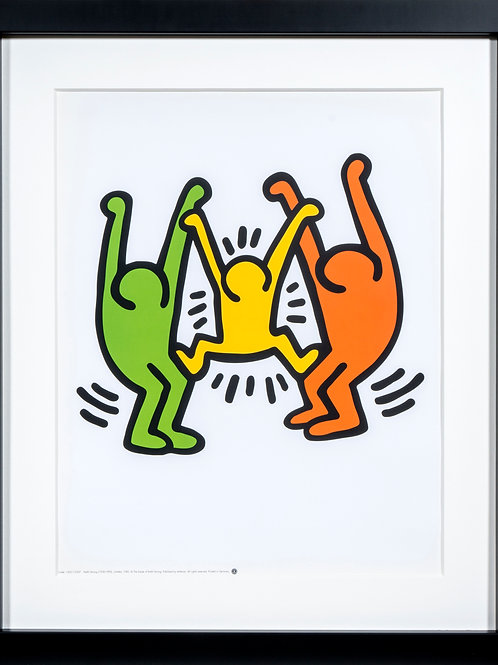 Offset Lithograph by Keith Haring in black wooden frame