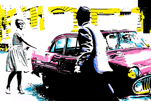 Acrylics on canvas titled Adventure by pop artist Marcelo Zeballos shows a Man and a Woman get in a Car