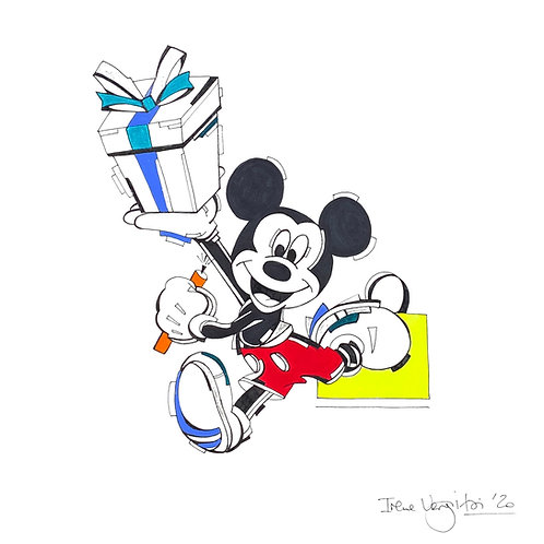 Mickey Mouse painting on paper by visual artist Irene Vergitsi