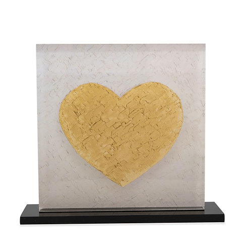 Gold Printed Heart On Plexiglass by artist Eleni Sameli