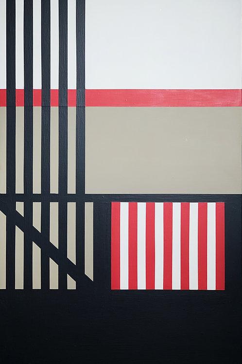 Geometric Art Painting on Wood  by artist Opy Zouni
