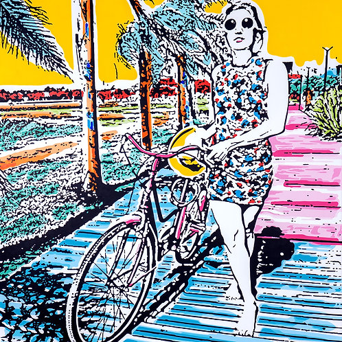 Acrylics on canvas titled Arrival by pop artist Marcelo Zeballos shows a Woman with Bicycle in Summer Landscape