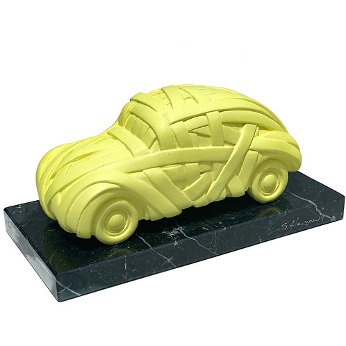 yellow beatle car sculpture by artist Stathis Alexopoulos at Mamush Gallery