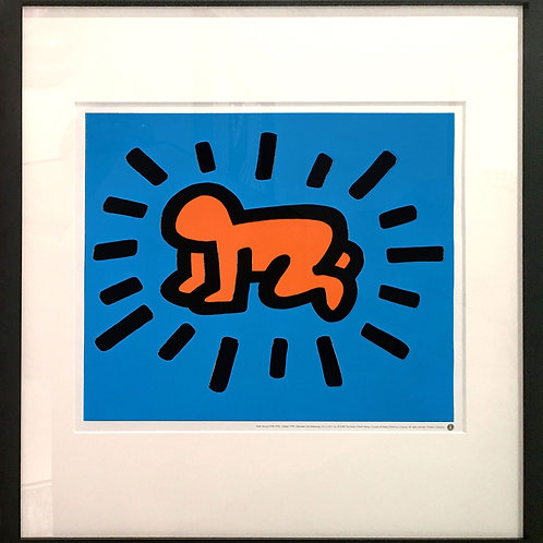 Offset Lithograph by Keith Haring titled Radiant baby in blue and orange colors