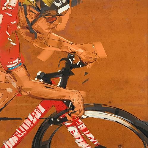 Girl Cyclist Painting by artist John Valyrakis