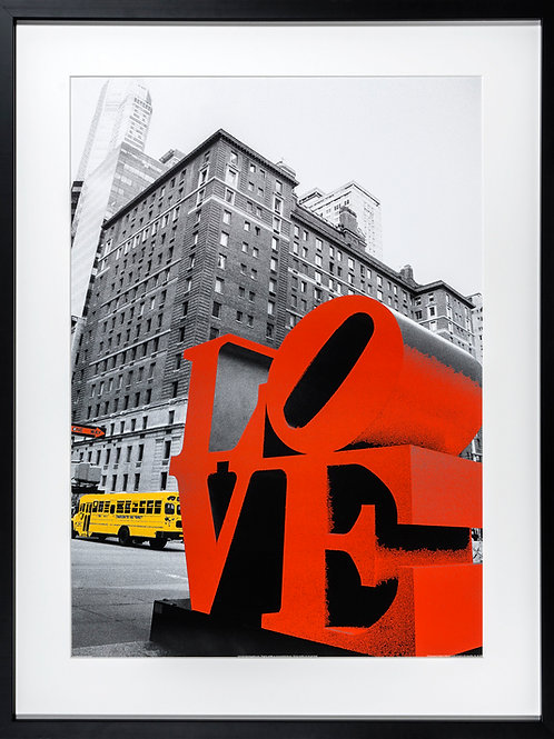Original framed poster by photographer Anne Valverde with red Robert's Indiana love sculpture in New York