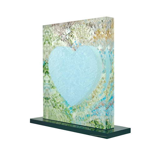 Blue Printed Heart On Plexiglass by artist Eleni Sameli