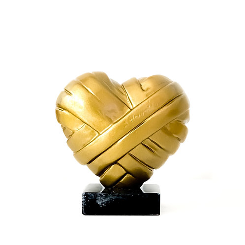 Gold Heart Sculpture in medium size titled Love Me by sculptor Stathis Alexopoulos