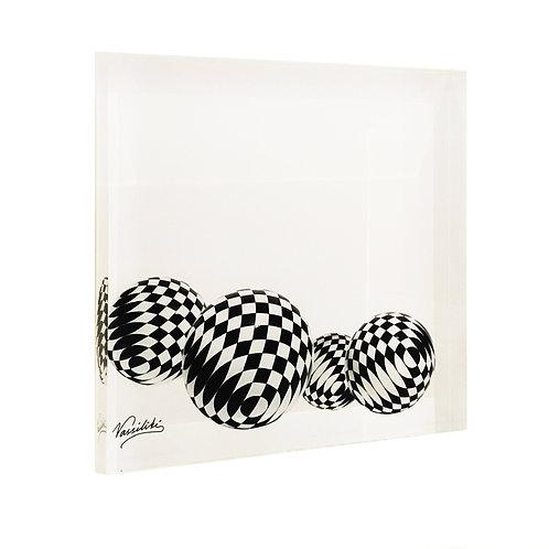 Art Print On Plexiglass with black And white rhombus on Plexiglass by artist Vassiliki