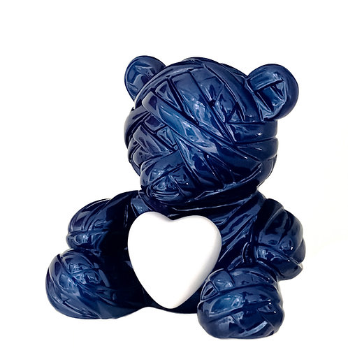 Metallic Blue resin sculpture titled Teddy in love by artist Stathis Alexopoulos