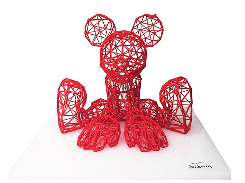 Red Mickey Mouse 3D Sculpture by artist Antonis Kiourktsis Front View