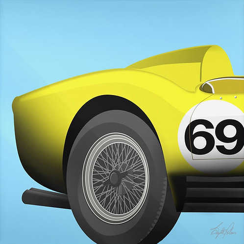 Brigitte's Polemis art print on plexiglass titled Yellow Ferrari, from the Classic Cars series.