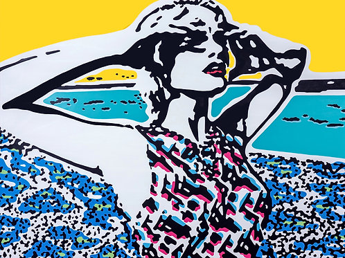 Acrylics on canvas titled Unforgettable summer by pop artist Marcelo Zeballos shows a Woman in Summer Landscape