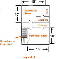 Floor plan for the guest rooms upstairs