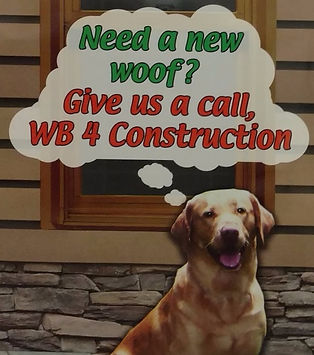 The WB 4 Construction dog stands in front of a closeup of a house and asks the viewer if they need a new roof.