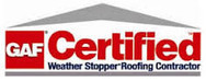 GAF Certified Weather Stopper Roofing Contractor Logo that WB 4 Construction has earned certification for.