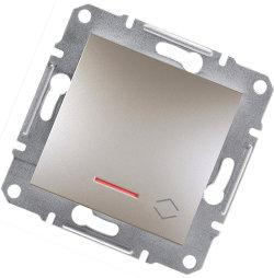 Asfora - Проходной выключатель 1-кл. с подсветкой Schneider Electric бронза