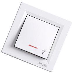 Asfora - 1 полюсная кнопка «свет» с подсветкой от Schneider Electric, белый