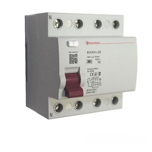 УЗО 4P 25A 100mA 230-400V IP20