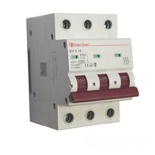 Автоматический выключатель 3P 16A 45kA 230-400V IP20