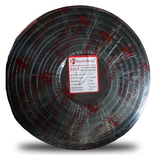 Телевизионный (коаксиальный) кабель RG-6U CCS 102 Cu черный ПВХ